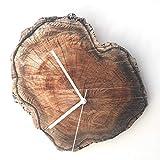 Original Anillo Anual De Madera Mesa De Reloj Retro Personalidad Pastoral Mudo Reloj De Pared De Madera Maciza Sala De Estar Grano De Madera Reloj De Pared Creativo 26 * 28 Cm