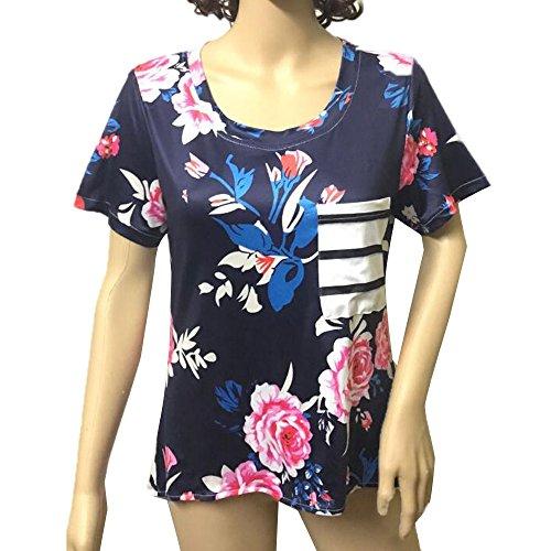 Longra Donne Fiore di fibra di poliestere irregolare stampa manica corta camicia a righe Blu