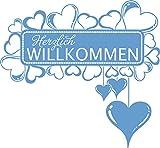 GRAZDesign 850129_57_056 Wandtattoo Herzlich Willkommen mit Swarovski Kristallen | Wand-Aufkleber als Deko für Flur (61x57cm//056 lichtblau//Swarovski Elements Set 12 Stück)