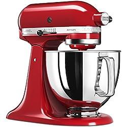KitchenAid 5KSM125 EER Artisan 5KSM125EER-Robot de Cocina, tazón de 4.8 L, Color Rojo, 300 W, 4.8 litros, 52 Decibeles, Kaiserrot