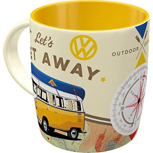 Nostalgic-Art 43032 Retro Kaffee-Becher Volkswagen - VW Bulli Let's get away, Große Lizenz-Tasse mit tollem T1 Motiv, Geschenk-Idee für Vintage-Liebhaber, 330 ml