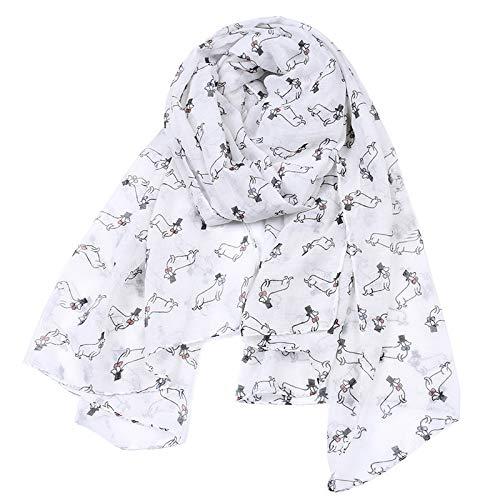 SCARWWH Neue Sieben Farben Schal Dackel Hund Print Schals Für Frauen Frühling Herbst Schal Und Schals Damen Infinity Schal Für Strand Kleid -