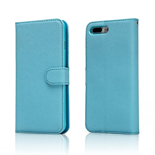 Hülle für iPhone 7 plus , Schutzhülle Für IPhone 7 Plus, Solid Color Cross Lines Muster 2 In 1 Style PU Ledertasche Geldbörse Tasche Tasche mit Kickstand & Lanyard ,hülle für iPhone 7 plus , case for  Blue