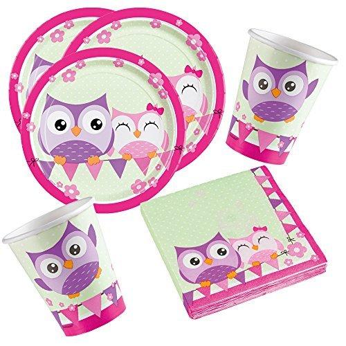 Amscan 36-Teiliges Eulen Party Set für 8 Kinder Geburtstag Tisch Deko Mädchen Pink Lila Teller Servietten Becher