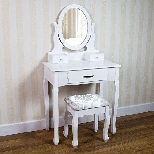 Foto de Vintage/Retro tocador 3 cajones espejo ajustable con taburete dormitorio escritorio de maquillaje blanco