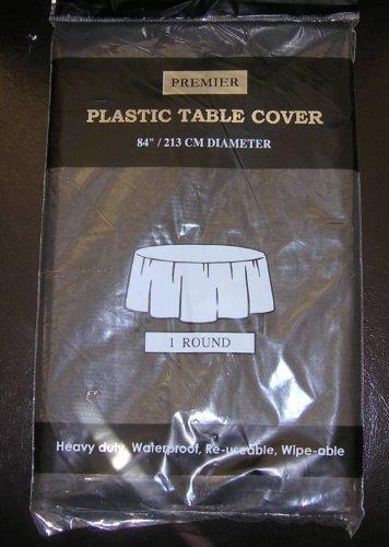 1x PREMIER rund Kunststoff schwarz Tischdecke Cover-213,4cm (Kunststoff-tabelle-cover Schwarzes)