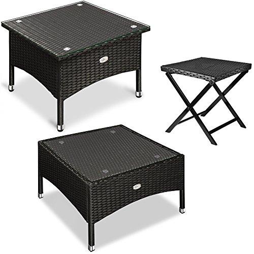 Polyrattan Tisch Beistelltisch Rattan Teetisch Gartentisch Glasplatte 58x58x42cm schwarz Garten Möbel