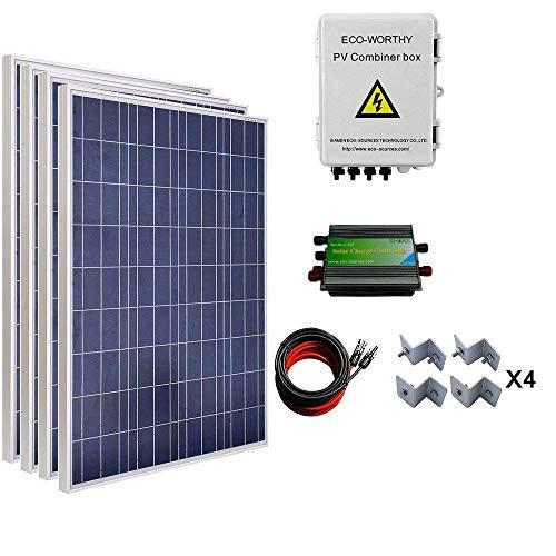 ECOWORTHY 400W Solar Panel System: 4Stück 100W Poly Panel + 4Saiten Solar Combiner Box + 60A Laderegler + 16FT Kabel + Halterungen -