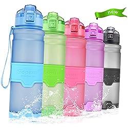 Temfly Botella Deportiva Botella de Agua sin BPA - 500ml/700ml/1L - Gua Botellas con Filtro para Niños, Correr, Gimnasio, Yoga (1000-azul, 1000ml-32oz)