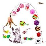 OneBarleycorn - Gatto Giocattolo,Gatto Interattivo Giocattolo per Gatti Includere Giocattolo per Gatti Mouse Balls Piume Pesce ecc, 16 Pezzi