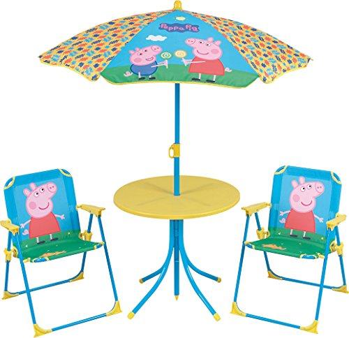 FUN HOUSE 712263- Juego de Mesa y sillas de jardín para niños, plástico rígido, diseño de Peppa Pig,46x 46x 46cm