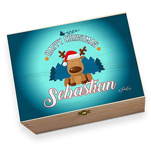 personalisierbar Weihnachten Rentier in Santa 's Red Hat bedruckt Christmas Eve Box Chest Große Box (Red Box Hat)