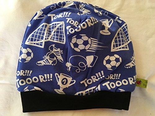 Fußball-elasthan-hut (Beanie Mütze Fußball, blau, weiß, schwarz, Kopfumfang 50-55 cm gefüttert)