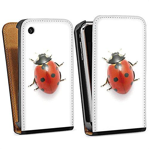 Apple iPhone 4 Housse Étui Silicone Coque Protection Coccinelle Coccinelle Insecte Sac Downflip noir