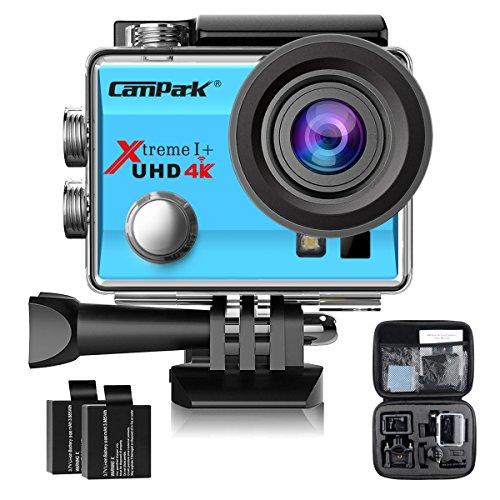 Campark ACT74 Caméra Sport 4K/1080P WiFi 16MP Ultra HD Caméra d'Action Etanche 30M, 170 °Grand-Angle, 2 pouces LCD, avec 2 Batterie et inclut des Kits Complets d'Accessoires(Bleu)