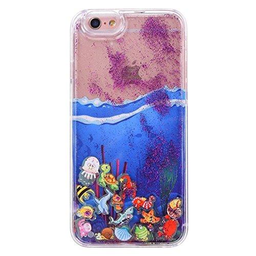 Glitzer Hülle für iPhone 6S,iPhone 6 Hülle,iPhone 6 Hülle Transparent Crystal Bling Glitzer Flüssig Case Hülle Klare Ultradünne Plastik Gel Schutzhülle für iPhone 6S / 6 4.7 Zoll,EMAXELERS iPhone 6S H Ocean Liquid 6