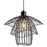 Modern Mode Pendelleuchte Geometrie Metall Dekorative Minimalistische Pendellampe Kreative Innenbeleuchtung E27 Angelschnur Kronleuchter Art Deco-Stil Lampeschirm Hängeleuchte Für Schlafzimmer,Black