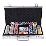 FDS Costway Pokerset Pokerkoffer 300 Laser-Chips Alukoffer inkl. Komplettset (Silber)