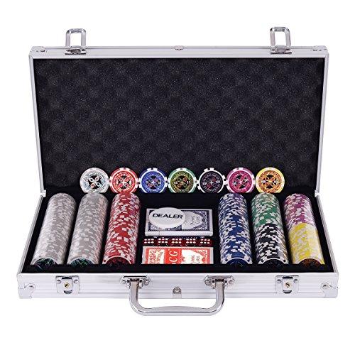 COSTWAY Pokerset Pokerkoffer 300 Laser-Chips Alukoffer inkl. Komplettset (Silber)