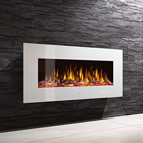 Noble Flame Vegas 1380 - Elektrokamin Wandkamin Kaminofen Kamin - Wandmontage Fernbedienung - Verschiedene Breiten - weiß (Elektro-kamin Wasserdampf)