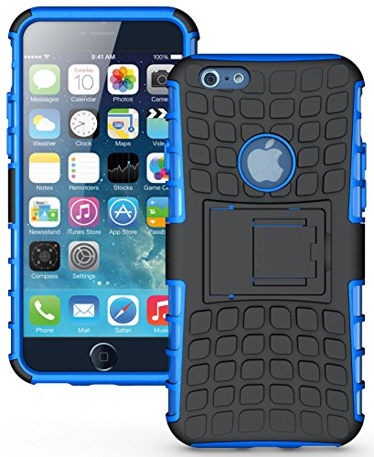 Heartly Flip Kick Stand Spider Hard Dual Armor Hybrid Bumper Back Case Cover For Apple iPhone 6 4.7 inch / Apple iPhone 6S 4.7 inch - Power Blue
