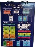 Le premier et seul apprentissage bilingue calendrier! Calendrier magnétique éducatif pour les enfants en français et en anglais . Panneau rigide essuyer avec suspension à aimant sur le réfrigérateur ou chaîne à accrocher sur le mur