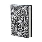 AiSi Retro A5 Notizbuch klassische europäische Vintage-Stil Tagebuch Journalbuch Notizheft Notebooks Reisetagebuch Buch 21.7 x 15 x 2cm A5 Sonnenblumen 3d Muster Silber