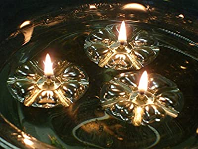 Aromaglow Magical Floating Water Candles, 50 Reusable Silver Floats & 50 Long Burning Wicks fuelled by vegetable oil. Wedding Table Centrepiece from Aromaglow