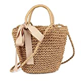 Damen Strand Handtasche Stroh Schultertasche mit Schleife und Henkeln für Sommer