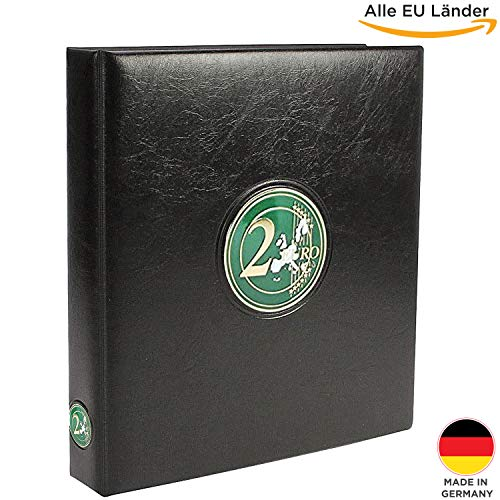 nzen Sammelalbum Aller EU Länder / Münzsammelalbum für Deine Coin Collection + 2 Münzhüllen + farbige Vordruckblätter + Sticker-Set Flaggen ()