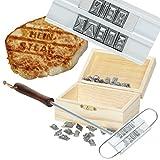 Witziges Grillbrandeisen mit 80 Wechselbuchstaben - optional: Holz-Geschenkebox und Grillmeister-Urkunde - mit individueller Gravur (Grillbrandeisen + gravierte Holzbox)