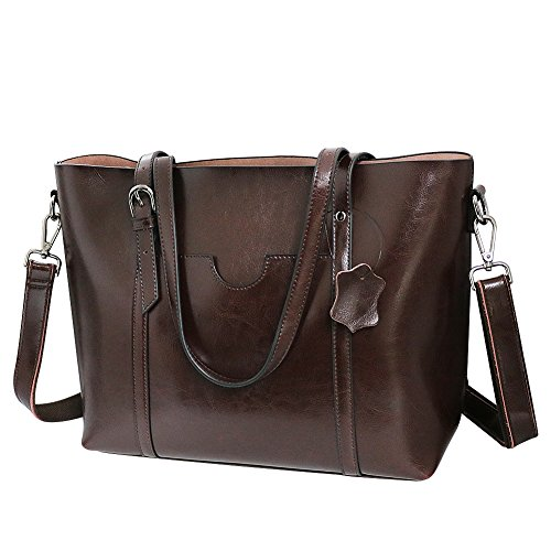 Vovoye Classic and Fashion Genuine Leather Tote Shoulder Handbag Ladies  Vintage 3-Way Leather Tote 4ab8a37219e57