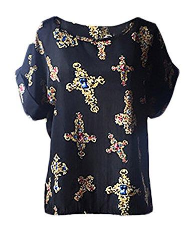 T Shirt Damen Aufdruck Kurzarm Elegant Chiffon Top Casual Locker Rundkragen Vogelmuster Shirts Blouses Stil4
