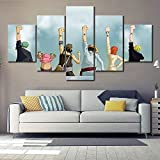 5 Panel Wandkunst Anime Poster Bild One Piece Monkey D. Luffy Poster Malerei Modern Wohnkultur Segeltuch,B,20×35×2+20×45×2+20×55×1