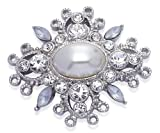 Jodie Rose Clear Crystal and Simulated Pearl Brooch