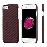 pitaka Minimalistische iPhone 8/iPhone 7 Hülle, Amaridfaser[Kugelsicheres Material] Handyhülle, schlanke(0,65mm) leichte(8g) robuste und stabile Schutzhülle mit Folie Schwarz/Rot(Köperbindung)