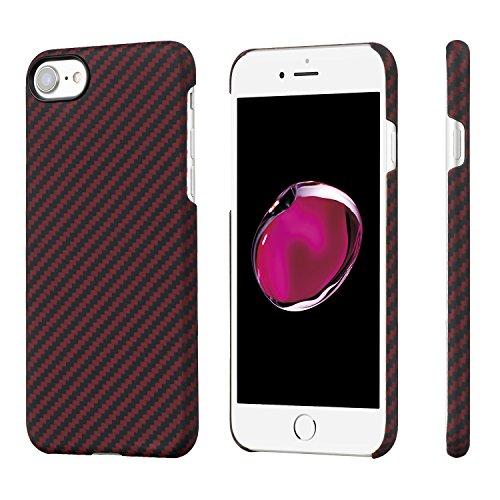 Étui iPhone 8/7 minimaliste, PITAKA MagCase Aramide Fiber[Matériau de l'armure corporelle réelle] Mince(0.65mm) Super Léger(12g) Durable rigide en caoutchouc Case pour iPhone 8/7-Noir/Gris(sergé) Rouge/noir