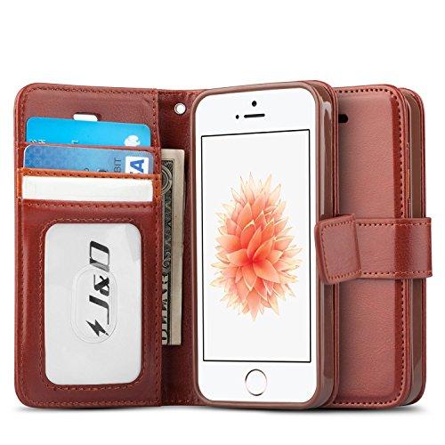 iPhone SE Hülle, J&D [Handytasche mit Standfuß] [Slim Fit] Robust Stoßfest Aufklappbar Tasche Hülle für Apple iPhone SE - Schwarz Braun