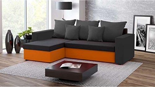 Justhome fresh i divano angolare divano letto microfibra (lxlxa): 142x237x75 cm nero arancio ii penisola a sinistra