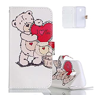 Galaxy J7 2017 Case Folio, Aeeque Cute Red Love Bear Design Bookstyle Kickstand Feature / Hand Strap PU Leather Phone Case Protection for Samsung Galaxy J7 2017 5.5 inch
