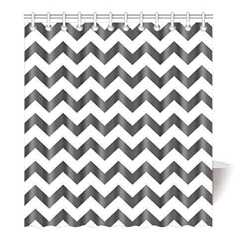 Preisvergleich Produktbild Violetpos Duschvorhang Grau Weiß Winkel Zig Zag Hochwertige Qualität Badezimmer 120 x 180 cm