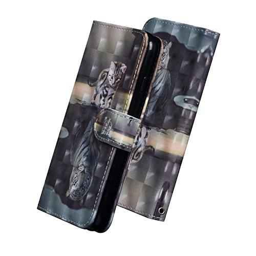 Huphant Compatible for Schutzhülle Samsung Galaxy S10+ Plus Hülle,Brieftasche Klapphülle Ständer Kartenfächer Gemaltes Tier Geschäft Wallet Flip Hülle for Samsung S10+ Plus Handyhülle -Katze Tiger -