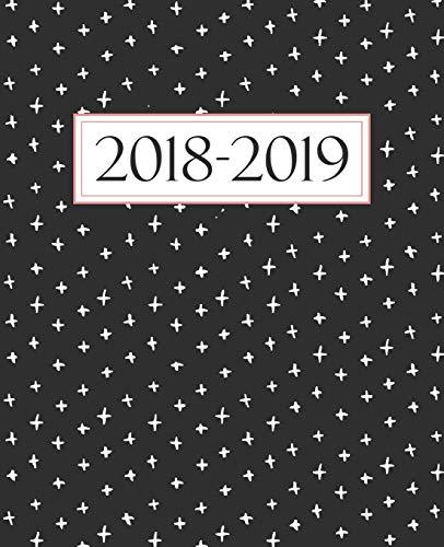 Agenda settimanale 2018-2019: Anno scolastico agenda dello studente, docente, prefessore, e insegnante: 19x23cm: Agenda 2018-2019 settimanale italiano: Bianco, nero e corallo 4343