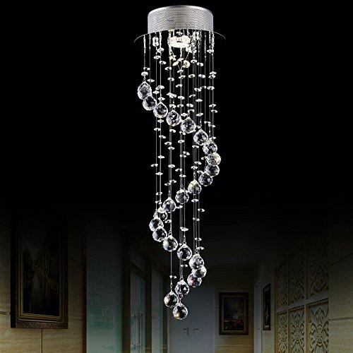 Modern Elegant LED Kristall Pendelleuchte Leuchter Beleuchtung 1 * GU10 Lichter Silber Überdachung Klar Hängend K9 Kristallkugeln Wendel Deckenleuchten zum Esszimmer Wohnzimmer Hotel Flur Foyer Einstieg Weg Romantische Hochzeit Gebäude Deko, H80CM, Chrome Finish (Licht Anhänger Schatten Kristall)