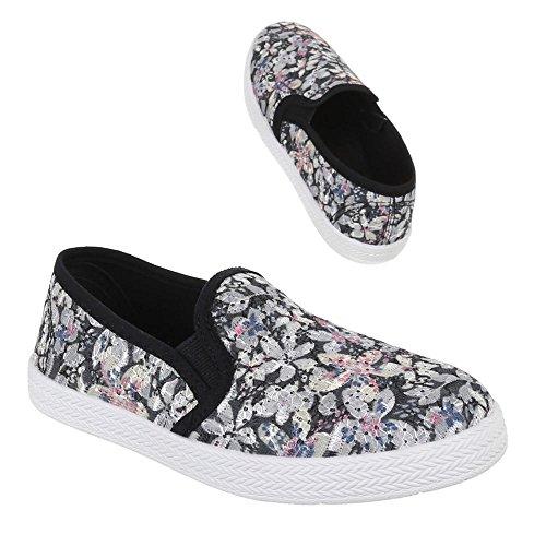 Kinder Schuhe, Y01B, BALLERINAS SLIPPER HALBSCHUHE Schwarz Multi