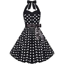 Zarlena Damen 50er Retro Rockabilly Polka Dots Petticoat Neckholder Kleid Schwarz mit weissen Dots Large 4250647215114