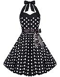 Zarlena Damen 50er Retro Rockabilly Polka Dots Petticoat Neckholder Kleid Schwarz mit weissen Dots X-Small 4250647201537k