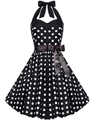 Zarlena Damen Rockabilly Kleid Polka Dots Punkte Tupfen Retro 50er Neckholder Schwarz mit weissen Dots M (Kleid Karneval Petticoat)