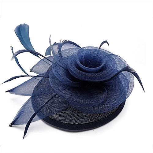 Edel Rouge Moulin Kostüm - Kuingbhn Fascinator-Hut Federhüte Stirnband für Frauen Hochzeit Cocktail Tea Party Kostüm Haarspange Ballzubehör (Color : Blue, Size : Free Size)