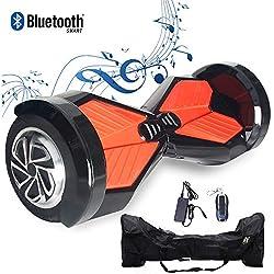 """2WD Hoverboard Scooter Eléctrico 2 Rueda Self Balancing Scooter con Bluetooth Scooter Eléctrico 8""""- 2 * 350W (Negro Rojo)"""